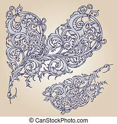 vettore, disegno, fiore, set:, calligraphic