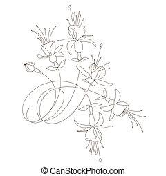 vettore, disegno floreale