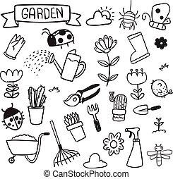 vettore, disegno, giardino, collezione