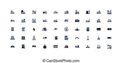 vettore, disegno, icona, industria, isolato, olio, set