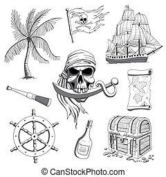 vettore, disegno, pirata, elementi