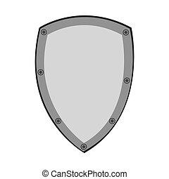 vettore, disegno, scudo, protezione
