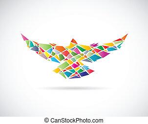 vettore, disegno, uccelli, colorito