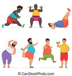 vettore, divertente, paffuto, uomo grasso, caratteri, set, fare, palestra, allenamento, exercises., sport, fitness.