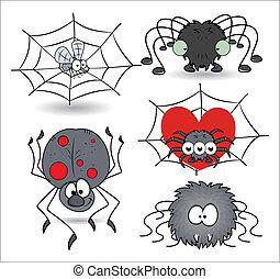 vettore, divertente, set, ragni, cartone animato