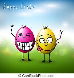 vettore, divertente, uova pasqua, -, pasqua felice, scheda