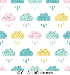 vettore, divertimento, colorito, nubi, seamless, modello