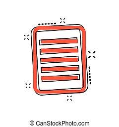 vettore, documento affari, concept., quaderno, illustrazione, segno, nota, schizzo, pictogram., effetto, comico, style., cartone animato, icona