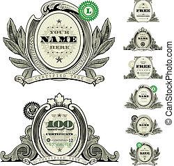 vettore, dollaro, set, logotipo, cornice, soldi