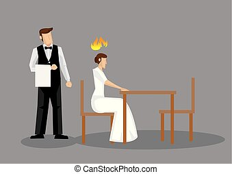 vettore, donna arrabbiata, illustrazione, ristorante