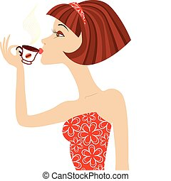 vettore, donna, bevanda, caffè