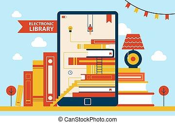 vettore, donna, biblioteca elettronica, illustrazione