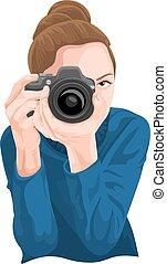 vettore, donna, fotografare, macchina fotografica.