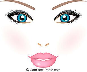 vettore, donna, illustrazione, faccia