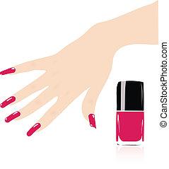 vettore, donna, mano, con, rosso, unghie
