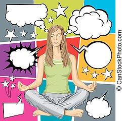 vettore, donna, posa loto, meditare, set, bolla discorso