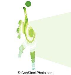 vettore, donna, silhouette, femmina, colorito, giocatore pallavolo, concetto, fondo