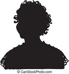 vettore, donna, silhouette
