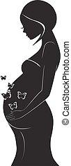 vettore, donna, silhouette, incinta