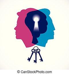 vettore, donna, teste, psicologia, famiglia, creato, buco serratura, society., problemi, illustrazione, o, concetto, relazione, comprensione, chiave, genere, conflitti, logotipo, profili, uomo