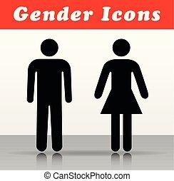 vettore, donna, uomo, icone