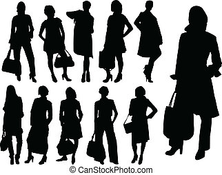 vettore, -, donne affari