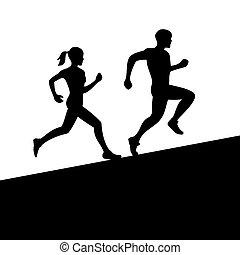 vettore, donne, correndo, uomini, silhouette.