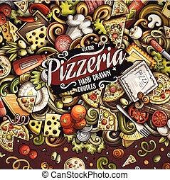 vettore, doodles, pizza, cornice, cartone animato