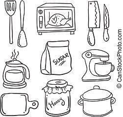 vettore, doodles, set, illustrazione, cucina