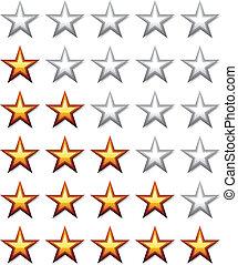 vettore, dorato, baluginante, valutazione, stelle