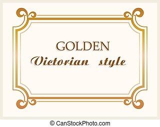 vettore, dorato, confine floreale, vittoriano, cornice, decoration., lusso, stile