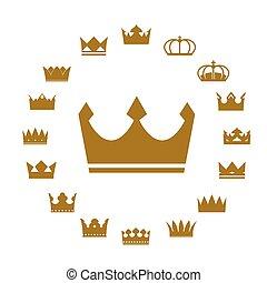 vettore, dorato, crowns., set, icone