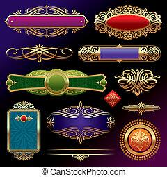 vettore, dorato, decorazione, set, ornamenti, cornici, deviders, scuro, modelli, elements:, bandiere, fondo, ornare, pagina