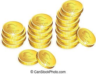 vettore, dorato, monete, con, scintille