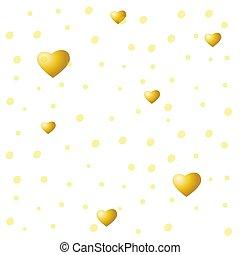 vettore, dorato, valentines, struttura, cuori, fondo., bianco, seamless, giorno