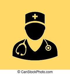 vettore, dottore, icona