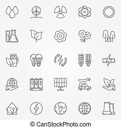 vettore, ecologia, lineare, icone
