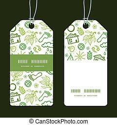 vettore, ecologia, simboli, striscia verticale, cornice, modello, etichette, set