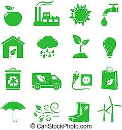 vettore, ecologia, verde, icone