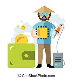 vettore, economico, asiatico, labor., il, risparmi, in, il,...