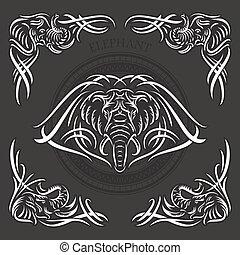 vettore, elefante, illustrazione, stilizzato
