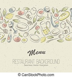 vettore, elegante, ristorante, design., menu