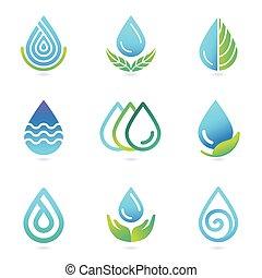 vettore, elementi, acqua, olio, disegno, logotipo
