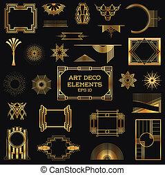 vettore, elementi, arte, vendemmia, -, deco, disegno,...