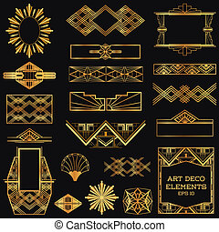 vettore, elementi, arte, vendemmia, -, deco, disegno, ...