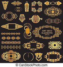 vettore, elementi, arte, vendemmia, -, deco, disegno, testo, cornici, posto, tuo