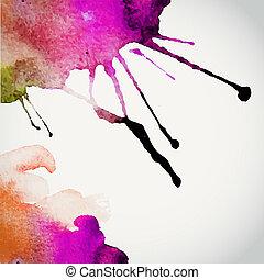 vettore, elementi, disegnato, illustrazione, paper., mano, acquarello, colori, fondo, acquarellature, bagnato, album, macchia, composizione