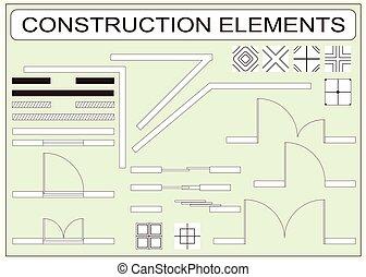 vettore, elementi, icone, semplice, progetto serie