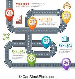 vettore, elements., marchio, infographic, posizione, strada