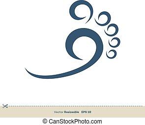 vettore, eps, design., logotipo, piede, reflexology, illustrazione, 10., sagoma